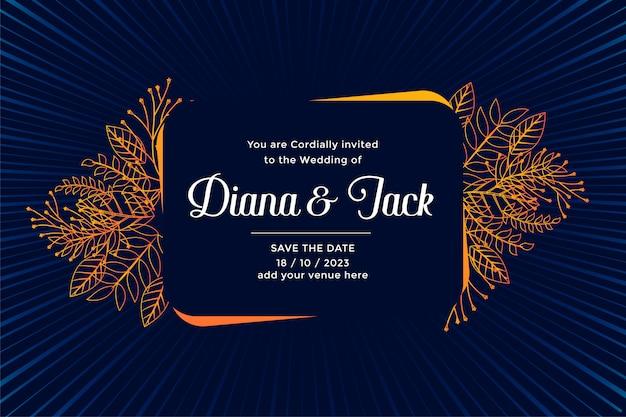 Design de cartão de casamento com folhas florescem decoração Vetor grátis