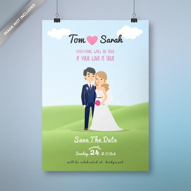 Design de cartão de casamento dos desenhos animados Vetor Premium