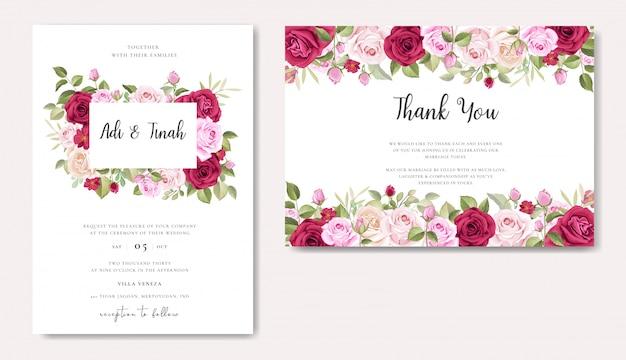 Design de cartão de casamento elegante com modelo de grinalda de lindas rosas Vetor Premium