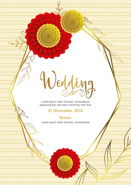 Design de cartão de casamento Vetor Premium