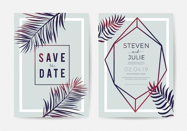 Design de cartão de convite de casamento com folhas tropicais Vetor Premium
