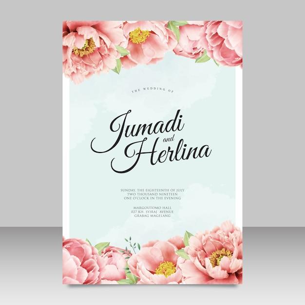 Design de cartão de convite de casamento peônias Vetor Premium
