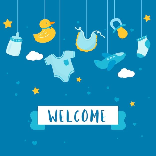 Design de cartão de convite de chuveiro de bebê Vetor grátis