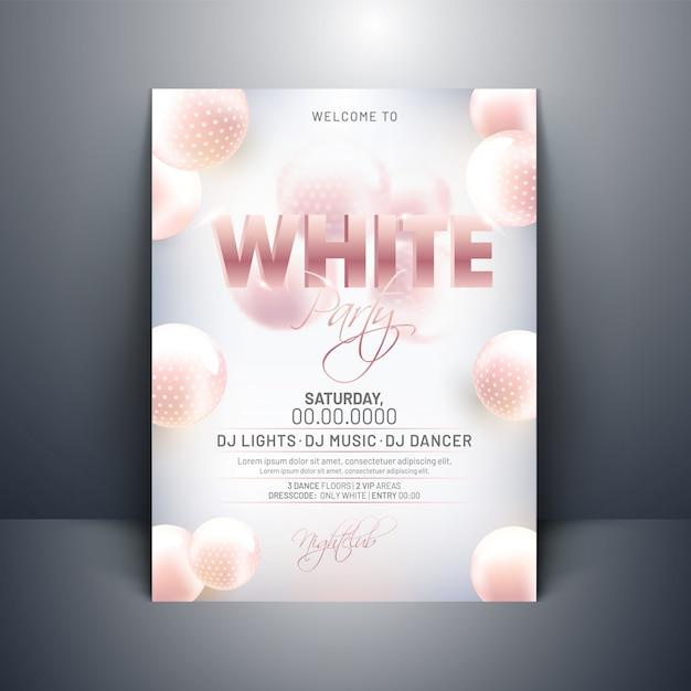 Design de cartão de convite de festa branca com 3d esferas abstratas em g Vetor Premium
