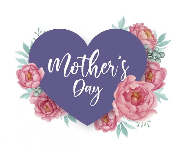 Design de cartão de dia das mães com forma de coração e peônias malva Vetor Premium