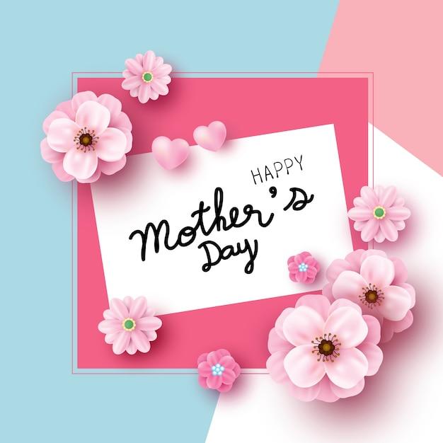 Design de cartão de dia das mães de flores cor de rosa sobre fundo de papel de cor Vetor Premium