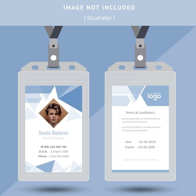 Design de cartão de identificação abstrata Vetor Premium