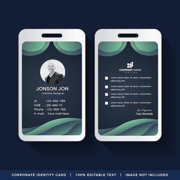 Design de cartão de identificação corporativa Vetor Premium