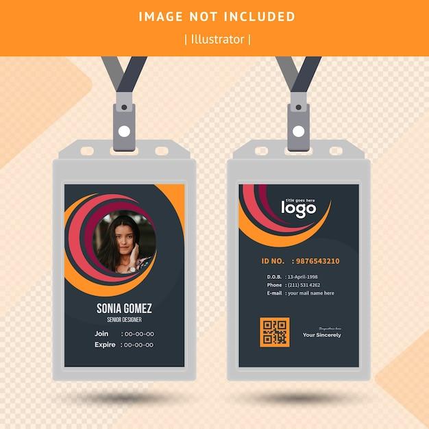 Design de cartão de identificação de círculo Vetor Premium