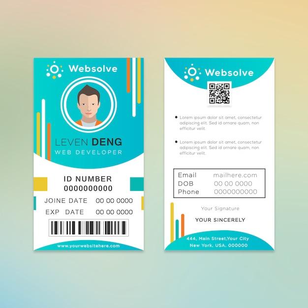 Design de cartão de identificação do desenvolvedor da web Vetor Premium