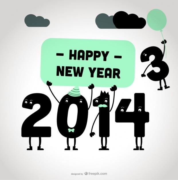 Design de cartão de mensagem de feliz ano novo 2014 Vetor grátis