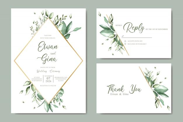 Design de cartão de modelo de convite de casamento com aquarela floral e folhas Vetor Premium