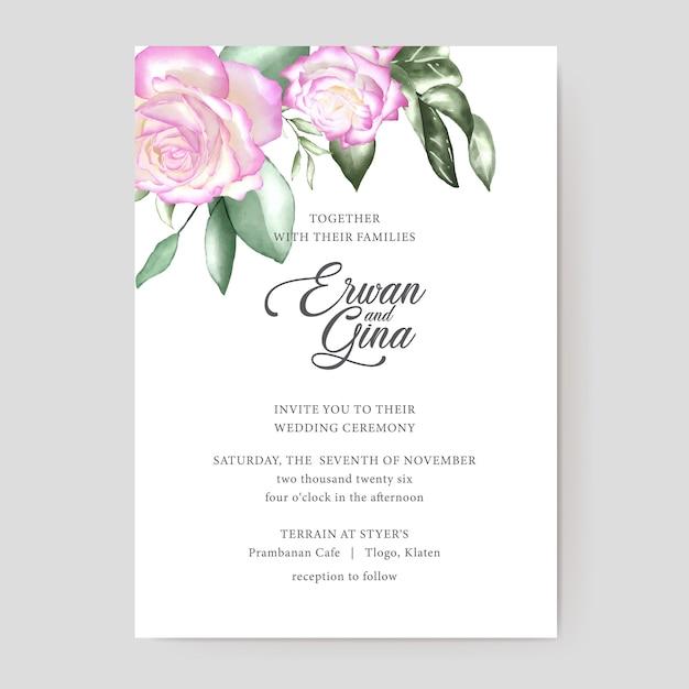Design de cartão de modelo de convite de casamento em aquarela Vetor Premium