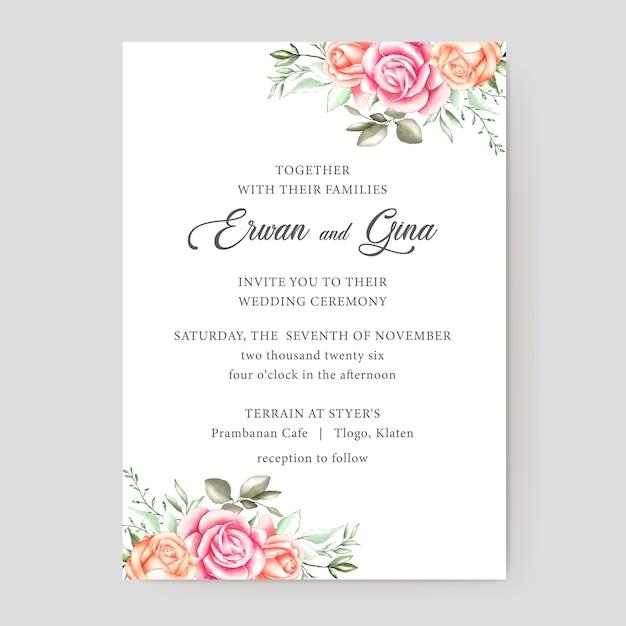 Design de cartão de modelo de convite de casamento floral Vetor Premium