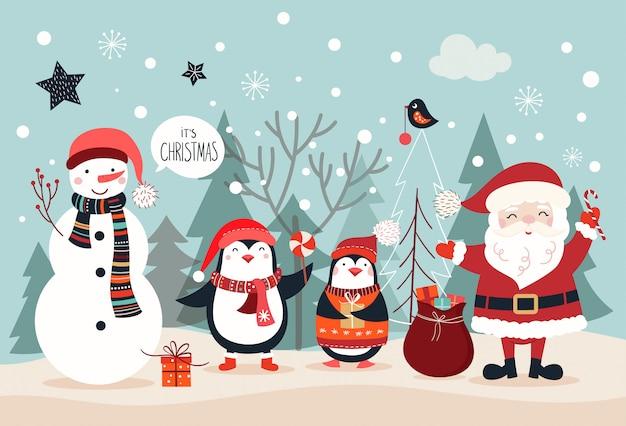 Design de cartão de natal, cartaz / banner com caracteres sazonais Vetor Premium