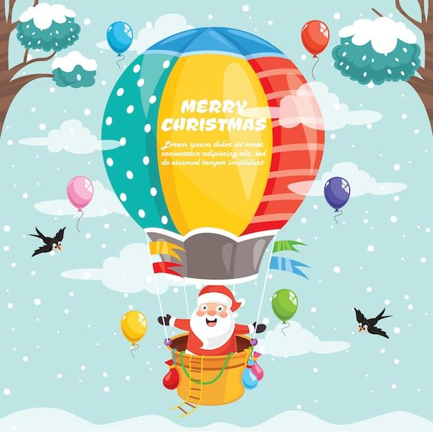 Design de cartão de natal com personagens de desenhos animados Vetor Premium