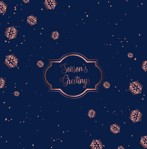 Design de cartão de natal ouro rosa e azul Vetor grátis