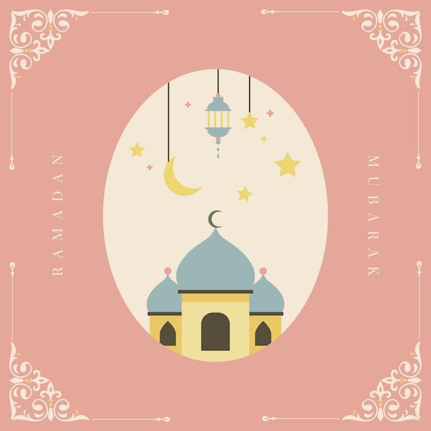 Design de cartão de ramadan mubarak Vetor grátis