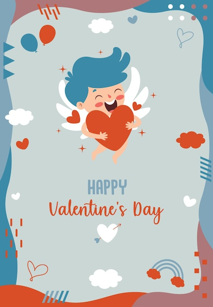 Design de cartão de saudação de dia dos namorados com personagem de desenho animado Vetor Premium