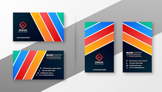 Design de cartão de visita abstrato listras coloridas Vetor grátis
