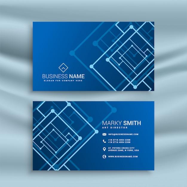 Design de cartão de visita de forma abstrata azul Vetor grátis