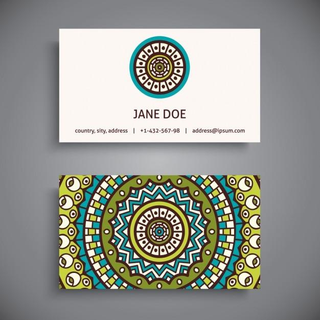 Design de cartão de visita do estilo boho Vetor grátis