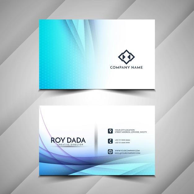 Design de cartão de visita elegante com onda azul Vetor grátis