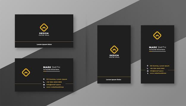 Design de cartão de visita elegante, limpo e simples em preto escuro Vetor grátis