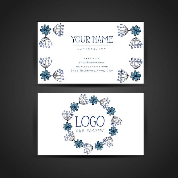 Design de cartão de visita floral azul da aguarela desenhada mão Vetor grátis
