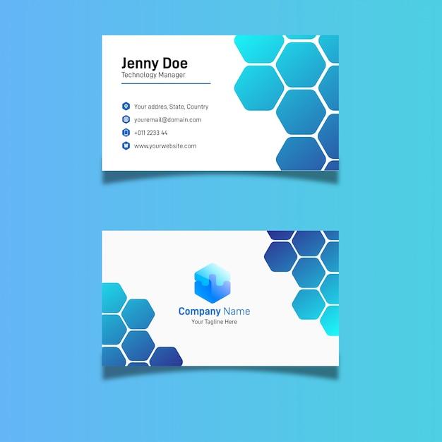 Design de cartão de visita hexagonal azul Vetor Premium