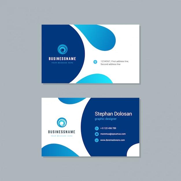 Design de cartão de visita modelo de cores azul na moda Vetor Premium
