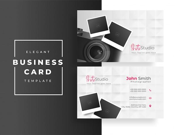Design de cartão de visita ou cartão de visita do photo studio com câmera e fotografias em branco Vetor Premium
