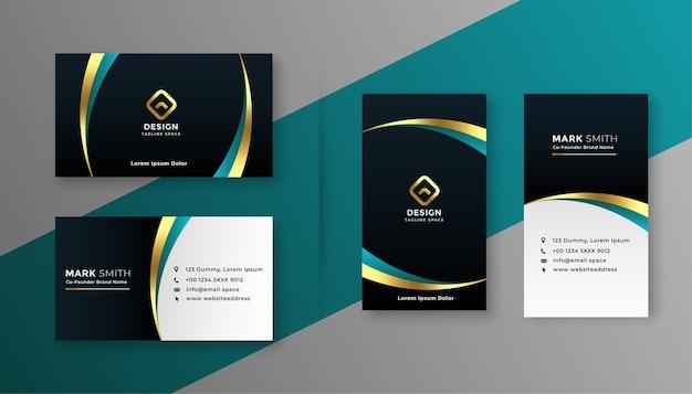 Design de cartão de visita premium dourado e preto Vetor grátis