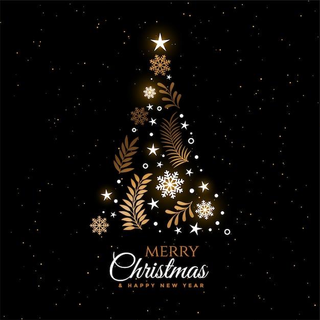 Design de cartão decorativo bonito de árvore de natal Vetor grátis