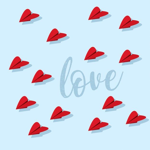 Design de cartão doce dia dos namorados com corações de avião de papel Vetor Premium
