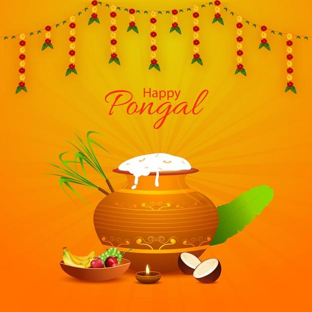 Design de cartão feliz pongal com pote de barro cheio de arroz pongali Vetor Premium
