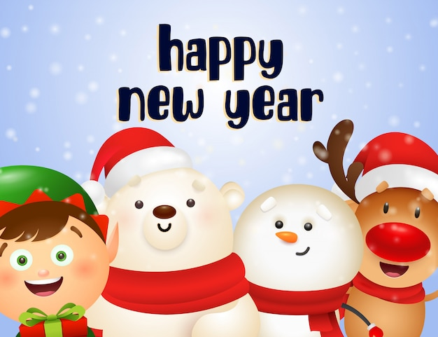 Design de cartão postal de ano novo com rena dos desenhos animados Vetor grátis