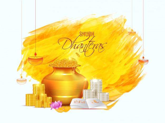 Design de cartão shubh (feliz) dhanteras com pote de riqueza dourada, pilha de moedas e livro sagrado na pincelada. Vetor Premium