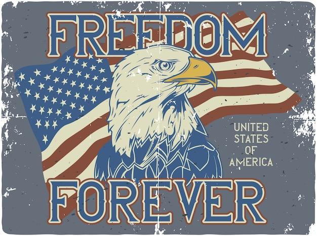 Design de cartaz com ilustração da bandeira dos eua e cabeça de águia Vetor Premium