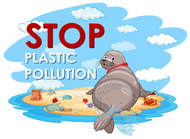 Design de cartaz com selo e sacos de plástico Vetor grátis