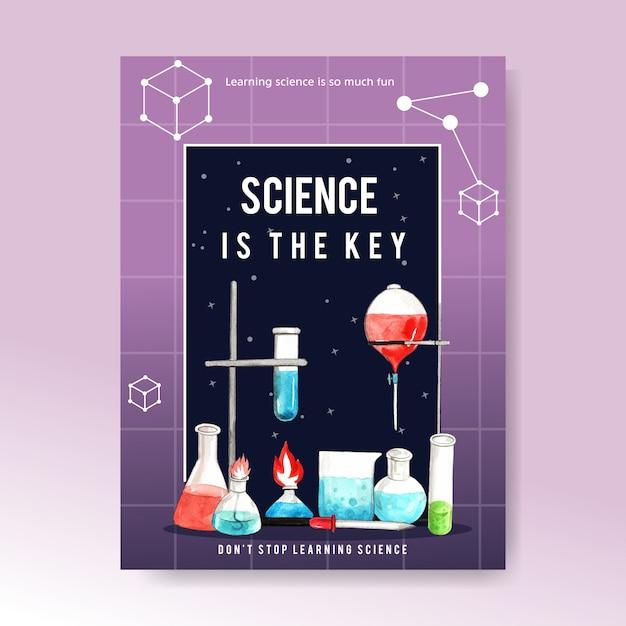 Design de cartaz de ciência com laboratório fornece ilustração aquarela. Vetor grátis