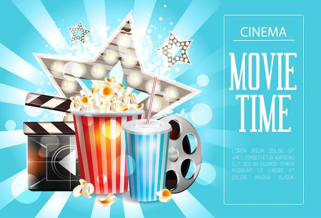 Design de cartaz de cinema Vetor Premium