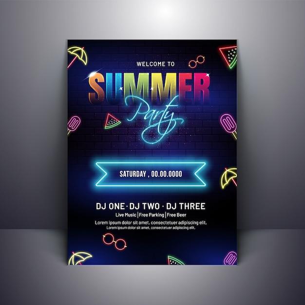 Design de cartaz de convite de festa de verão com efeito neon em tijolo Vetor Premium