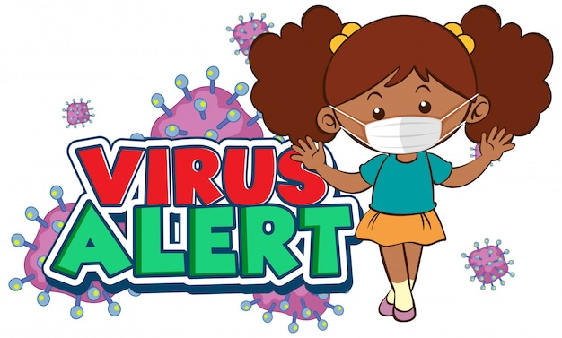 Design de cartaz de coronavírus com alerta de vírus de palavra e garota usando máscara Vetor grátis