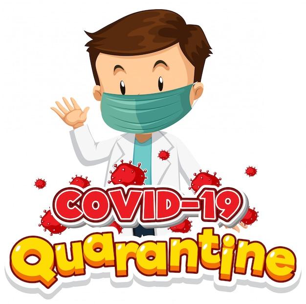 Design de cartaz de coronavírus com médico usando máscara Vetor grátis