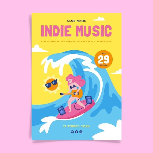 Design de cartaz de evento de música indie Vetor grátis