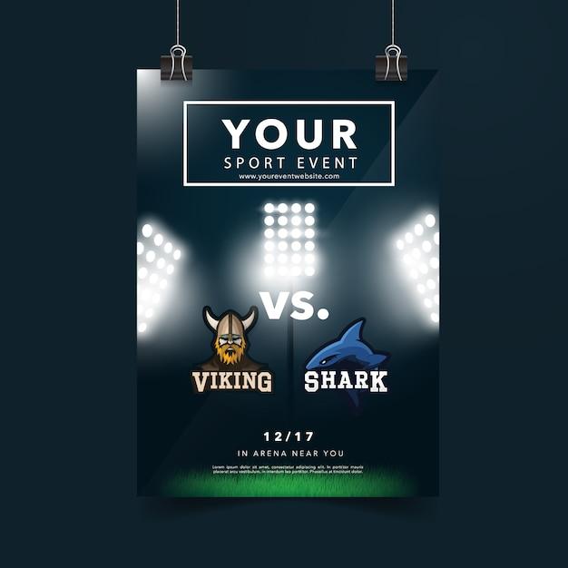 Design de cartaz de eventos esportivos Vetor Premium
