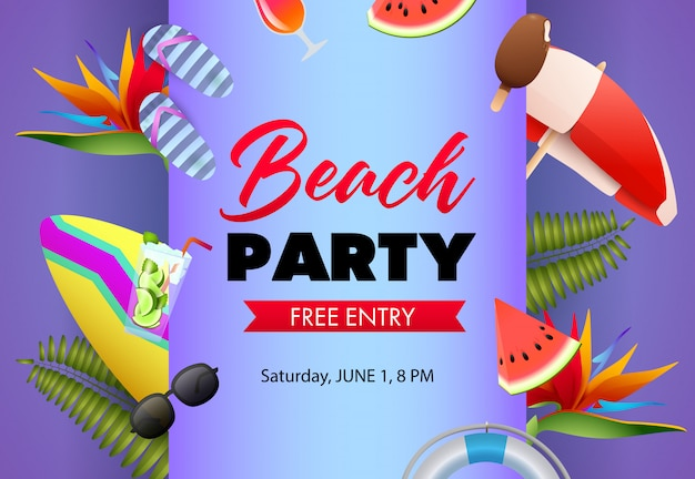 Design de cartaz de festa de praia. flip-flops, melancia Vetor grátis
