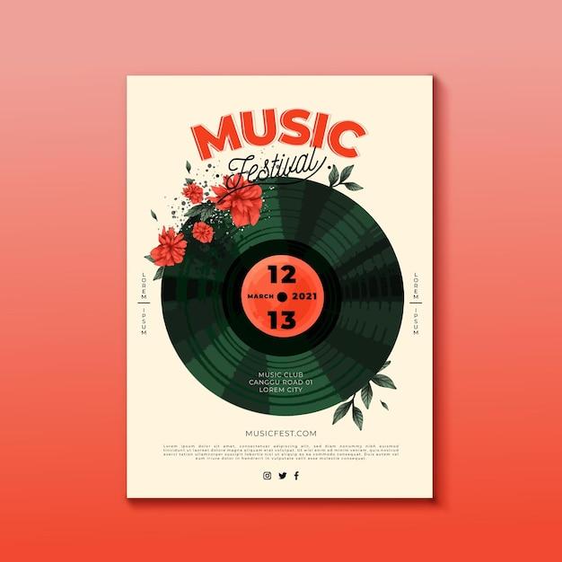 Design de cartaz de festival de música de vinil Vetor grátis
