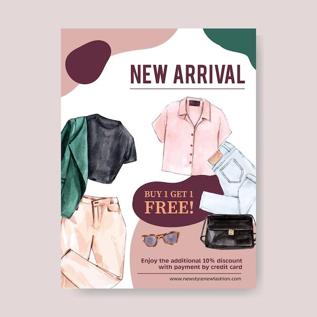 Design de cartaz de moda com roupa, ilustração em aquarela de acessórios. Vetor grátis